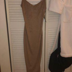 TIGHT BEIGE KNEE LENGTH DRESS